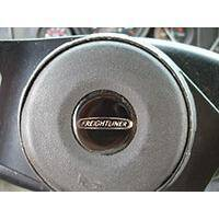 Chassis badge on the steering wheel