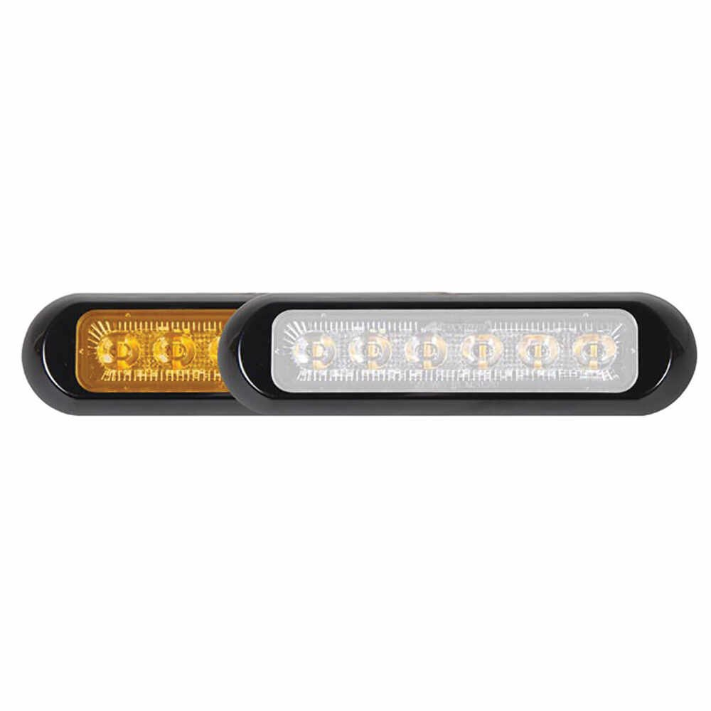 12 LED Amber White Low Profile Mini Strobe