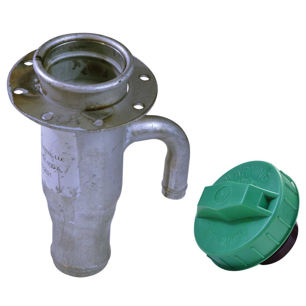 """1.5"""" x 6"""" Diesel Fuel Filler Neck with Green Cap"""