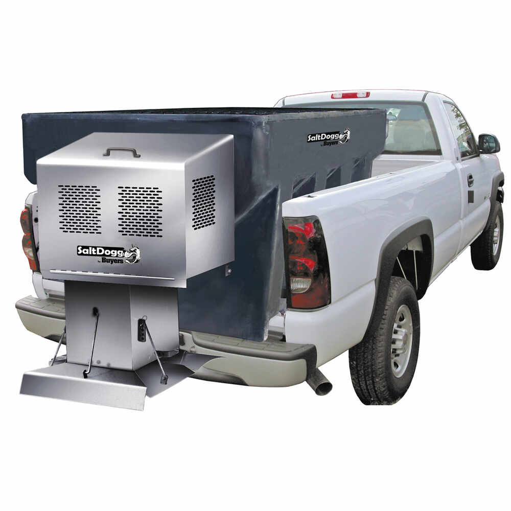 """2.0 Cubic Yard Gas Drive Stainless Steel Hopper Spreader Kit - 96"""" with Extended Chute"""