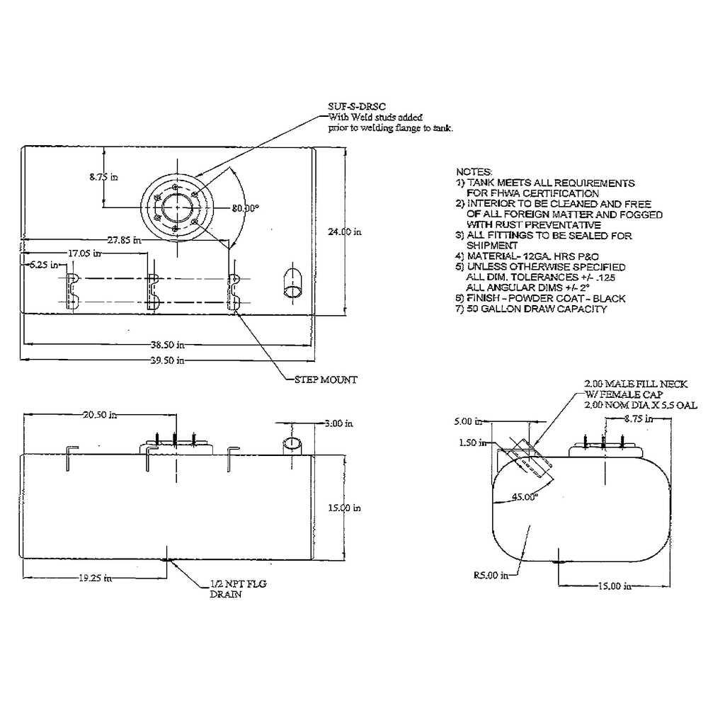 50 Gallon Rectangular Steel Fuel Tank for Chevy/GMC