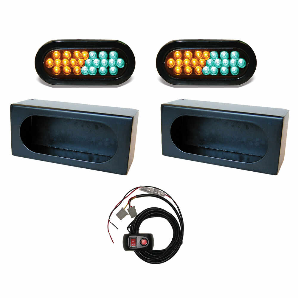 """6"""" Oval Amber / Green Strobe with Mounting Box and Strobe Controller Kit"""