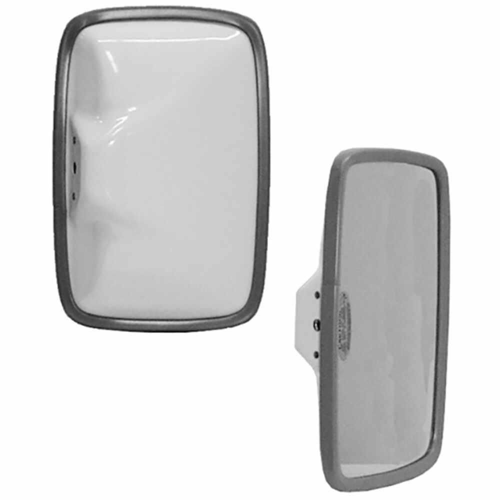 "6.5"" x 10"" White Steel Mirror Head with Flat Glass - Velvac 704032-5"