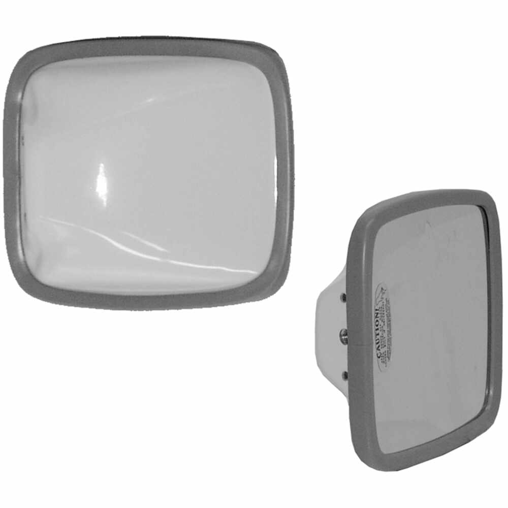 "6.5"" X 6"" White Steel Mirror Head with Flat Glass - Velvac 704078"