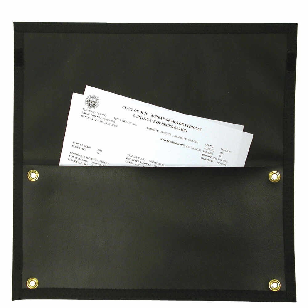 Document Pouch with 4 Metal Mounting Grommets - Black