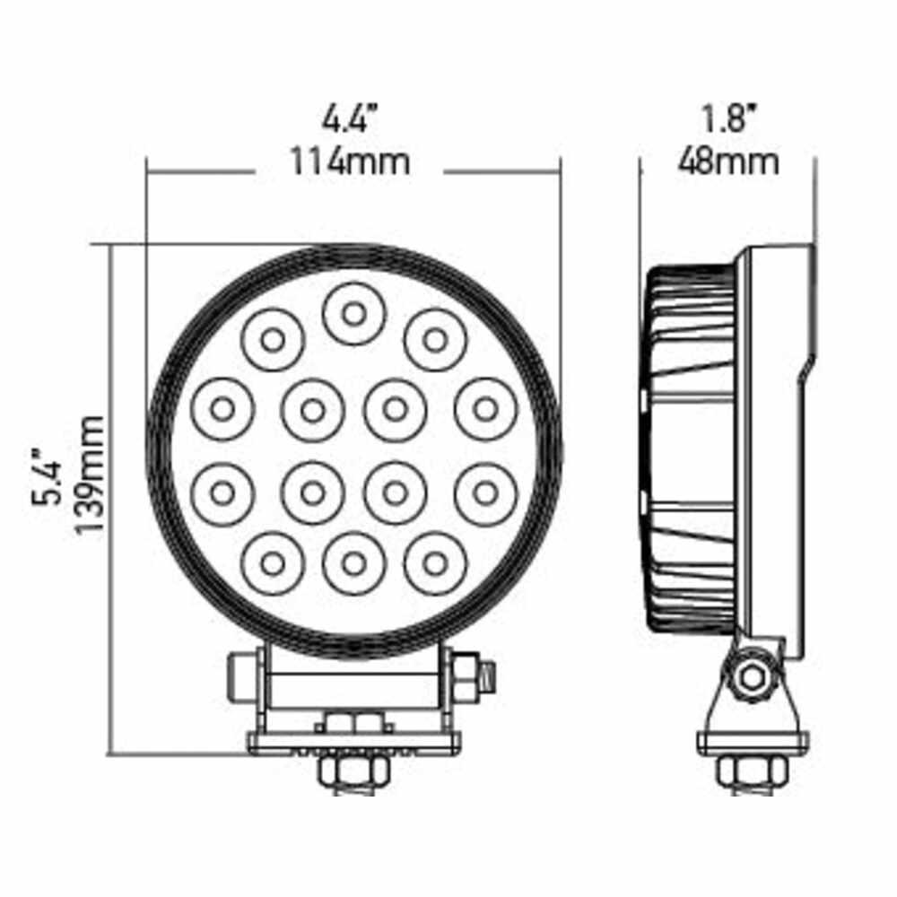 """LED 4-1/2"""" Round Hella Work Light - 2000 Lumen"""