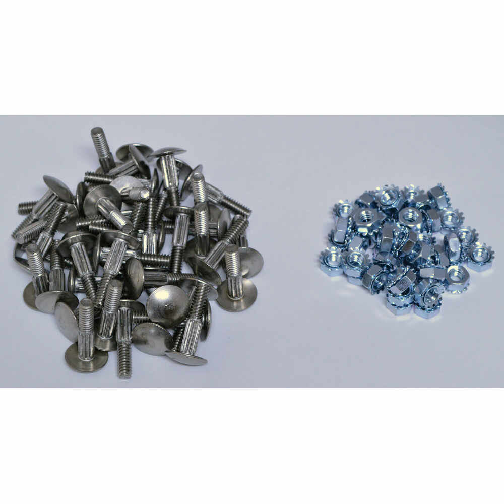 Splined Stainless Steel Step Bolts with Nuts - one Kit of 44 Sets - fits Diamond / Todco & Whiting Roll Up Door