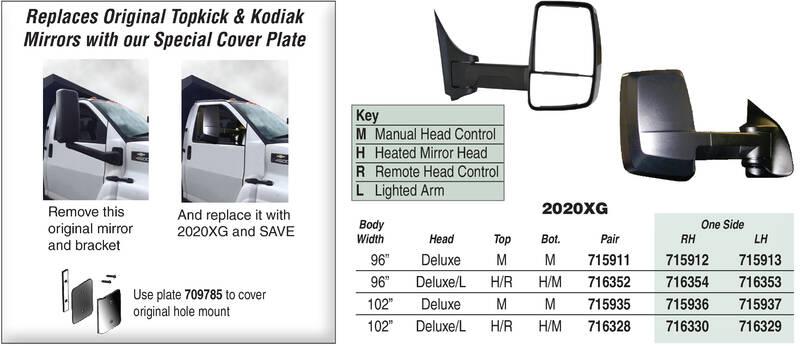 2020XG Velvac Mirror Systems for Chevy Topkick & GMC Kodiak Trucks